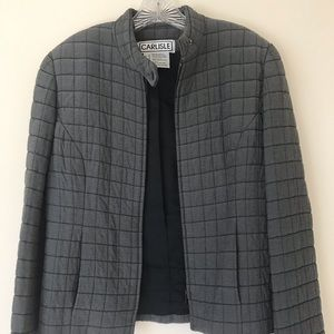 Carlisle quilted jacket in gray. Size 6.